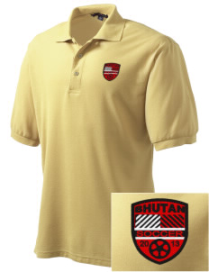 Bhutan Soccer Embroidered Men's Silk Touch Polo