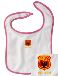 Bhutan Soccer Embroidered Baby Snap Terry Bib