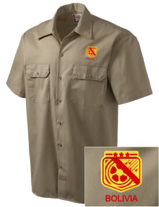 Bolivia Soccer Embroidered Dickies Men's Short-Sleeve Workshirt