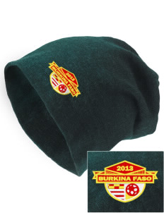 Burkina Faso Soccer Embroidered Slouch Beanie