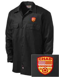 Chad Soccer Embroidered Dickies Men's Long-Sleeve Workshirt