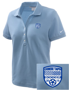 Chinese Taipei Soccer Embroidered Nike Women's Pique Golf Polo