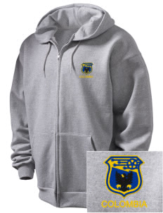 Colombia Soccer Embroidered Men's Full Zip Hooded Sweatshirt