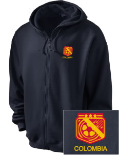 Colombia Soccer Embroidered Men's Zip-Up Hooded Sweatshirt with Matching Zipper
