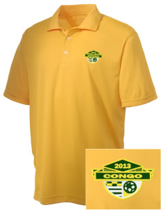Congo Soccer Embroidered Men's Double Mesh Polo