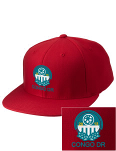 Congo DR Soccer Embroidered Diamond Series Fitted Cap
