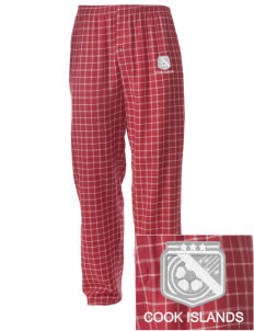 Cook Islands Soccer Embroidered Men's Button-Fly Collegiate Flannel Pant