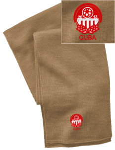 Cuba Soccer  Embroidered Knitted Scarf