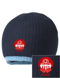 Cuba Soccer Embroidered Champion Striped Knit Beanie