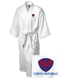 Czech Republic Soccer Embroidered Terry Velour Robe