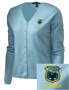 Ecuador Soccer Embroidered Women's Stretch Cardigan Sweater