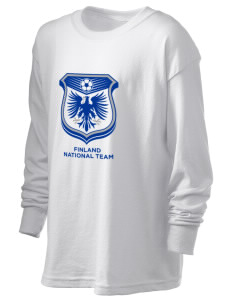 Finland Soccer Kid's 6.1 oz Long Sleeve Ultra Cotton T-Shirt
