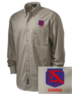 Gambia Soccer Embroidered Men's Twill Shirt