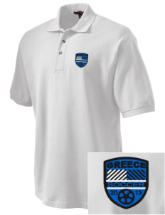 Greece Soccer Embroidered Tall Men's Pique Polo