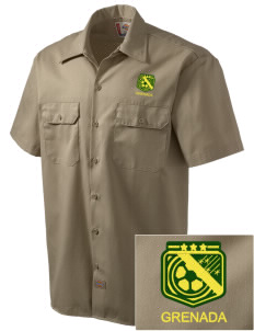 Grenada Soccer Embroidered Dickies Men's Short-Sleeve Workshirt