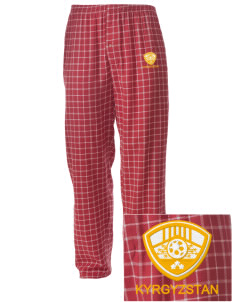 Kyrgyzstan Soccer Embroidered Men's Button-Fly Collegiate Flannel Pant