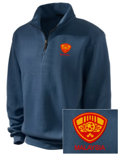 Malaysia Soccer Embroidered Men's 1/4-Zip Sweatshirt