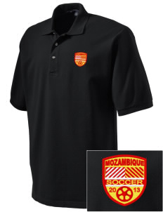 Mozambique Soccer Embroidered Tall Men's Pique Polo