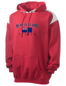 New Zealand Soccer Men's Pullover Hooded Sweatshirt with Contrast Color