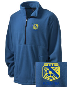Romania Soccer Embroidered Men's Wintercept Fleece Quarter-Zip Jacket
