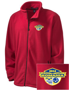 Romania Soccer Embroidered Men's Wintercept Fleece Full-Zip Jacket