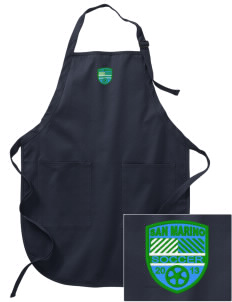 San Marino Soccer Embroidered Full-Length Apron with Pockets