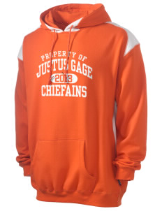 Justus Gage Elementary School Chiefains Men's Pullover Hooded Sweatshirt with Contrast Color