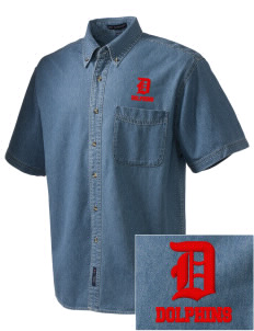 Graham Elementary School Dolphins  Embroidered Men's Denim Short Sleeve