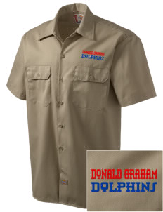 Graham Elementary School Dolphins Embroidered Dickies Men's Short-Sleeve Workshirt