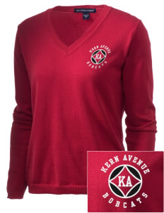 Kern Avenue Elementary School Bobcats Embroidered Women's V-Neck Sweater