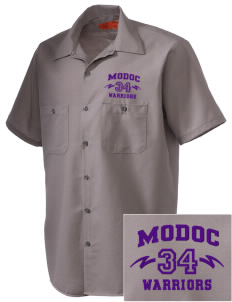 Modoc Middle School Warriors Embroidered Men's Cornerstone Industrial Short Sleeve Work Shirt