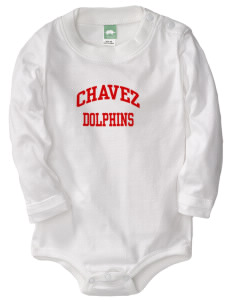 Chavez Elementary School Dolphins  Baby Long Sleeve 1-Piece with Shoulder Snaps