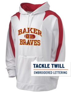 Baker Elementary School Braves Holloway Men's Sports Fleece Hooded Sweatshirt with Tackle Twill