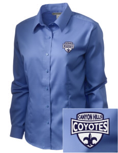 Canyon Hills Junior High School Coyotes  Embroidered Women's Long Sleeve Non-Iron Twill Shirt