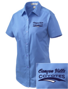 Canyon Hills Junior High School Coyotes Embroidered Women's Easy Care Short Sleeve Shirt