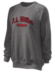 A.B. Miller High School Rebels Unisex Alternative Eco-Fleece Raglan Sweatshirt with Distressed Applique