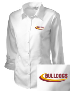 North Valley Continuation High School Bulldogs Embroidered Women's 3/4 Sleeve Non-Iron