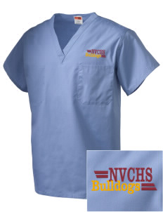North Valley Continuation High School Bulldogs Embroidered V-Neck Scrub Top