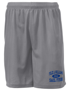 "Felix A Williams Elementary School Sail Fish Men's Mesh Shorts, 7-1/2"" Inseam"