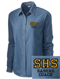 Souhegan High School Sabers Embroidered Women's Denim Long Sleeve