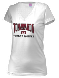 Tonawanda Junior High School Timber Wolves Juniors' Fine Jersey V-Neck Longer Length T-shirt