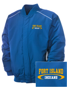 Fort Island Primary School Indians Embroidered Russell Men's Baseball Jacket