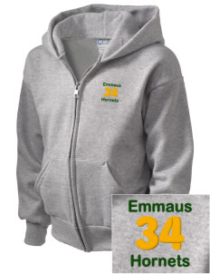 Emmaus High School Hornets  Embroidered Kid's Full Zip Hooded Sweatshirt