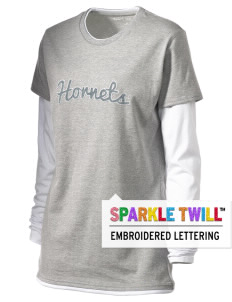 Emmaus High School Hornets Women's Long Sleeve Double Layer T-Shirt with Sparkle Twill™