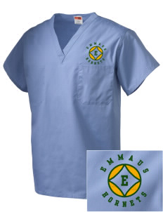 Emmaus High School Hornets Embroidered V-Neck Scrub Top