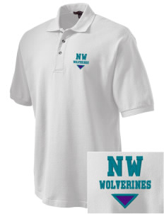 North Woods Elementary School Wolverines Embroidered Tall Men's Pique Polo