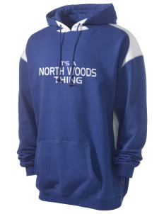 North Woods Elementary School Wolverines Men's Pullover Hooded Sweatshirt with Contrast Color