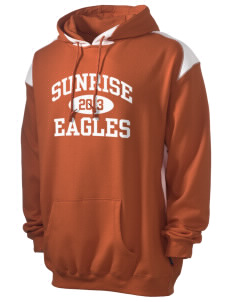 Sunrise School Eagles Men's Pullover Hooded Sweatshirt with Contrast Color