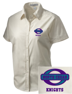 North Cedar Middle School Knights Embroidered Women's Short Sleeve Easy Care, Soil Resistant Shirt