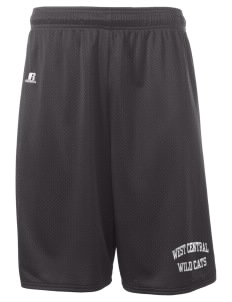"West Central Middle School Wild Cats  Russell Deluxe Mesh Shorts, 10"" Inseam"